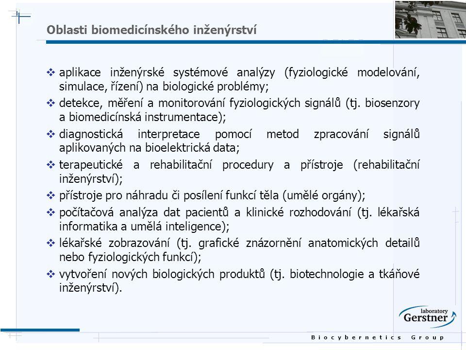 B i o c y b e r n e t i c s G r o u p Hlavní oblasti výzkumu  výzkum nových materiálů a konstrukcí pro implantované umělé orgány a skeletární náhrady;  návrh instrumentace pro sportovní lékařství;  vývoj nových dentálních materiálů a konstrukcí;  návrh komunikačních pomůcek pro postižené;  studium dynamiky plicní tekutiny;  studium biomechaniky lidského těla;  vývoj materiálů použitelných jako náhrada lidské kůže