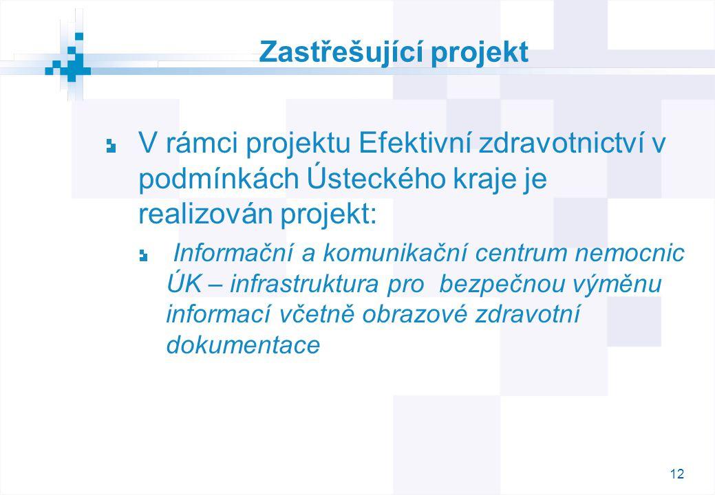 12 Zastřešující projekt V rámci projektu Efektivní zdravotnictví v podmínkách Ústeckého kraje je realizován projekt: Informační a komunikační centrum nemocnic ÚK – infrastruktura pro bezpečnou výměnu informací včetně obrazové zdravotní dokumentace