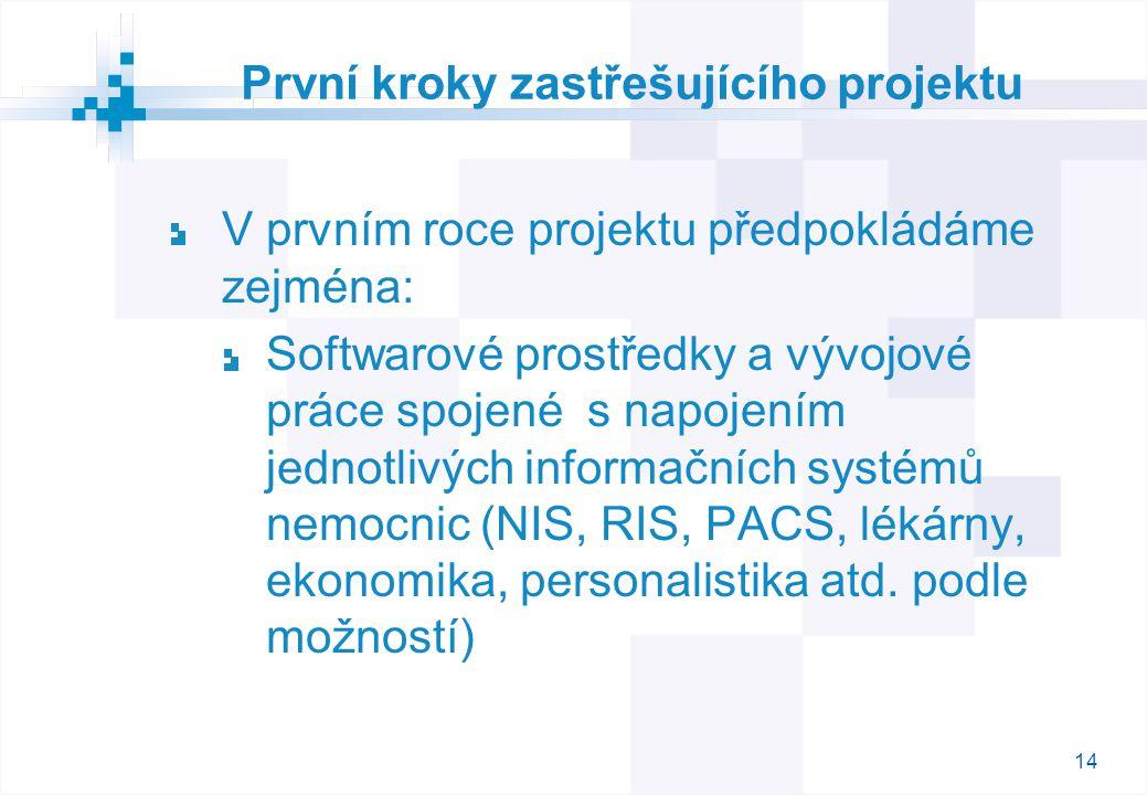 14 První kroky zastřešujícího projektu V prvním roce projektu předpokládáme zejména: Softwarové prostředky a vývojové práce spojené s napojením jednotlivých informačních systémů nemocnic (NIS, RIS, PACS, lékárny, ekonomika, personalistika atd.
