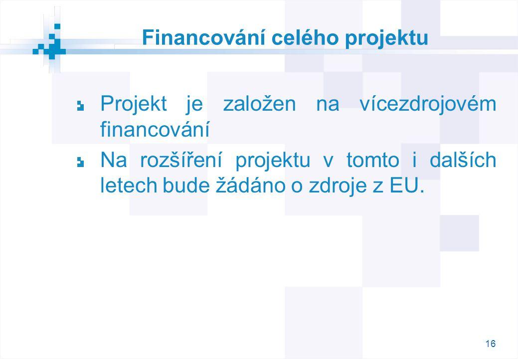 16 Financování celého projektu Projekt je založen na vícezdrojovém financování Na rozšíření projektu v tomto i dalších letech bude žádáno o zdroje z EU.
