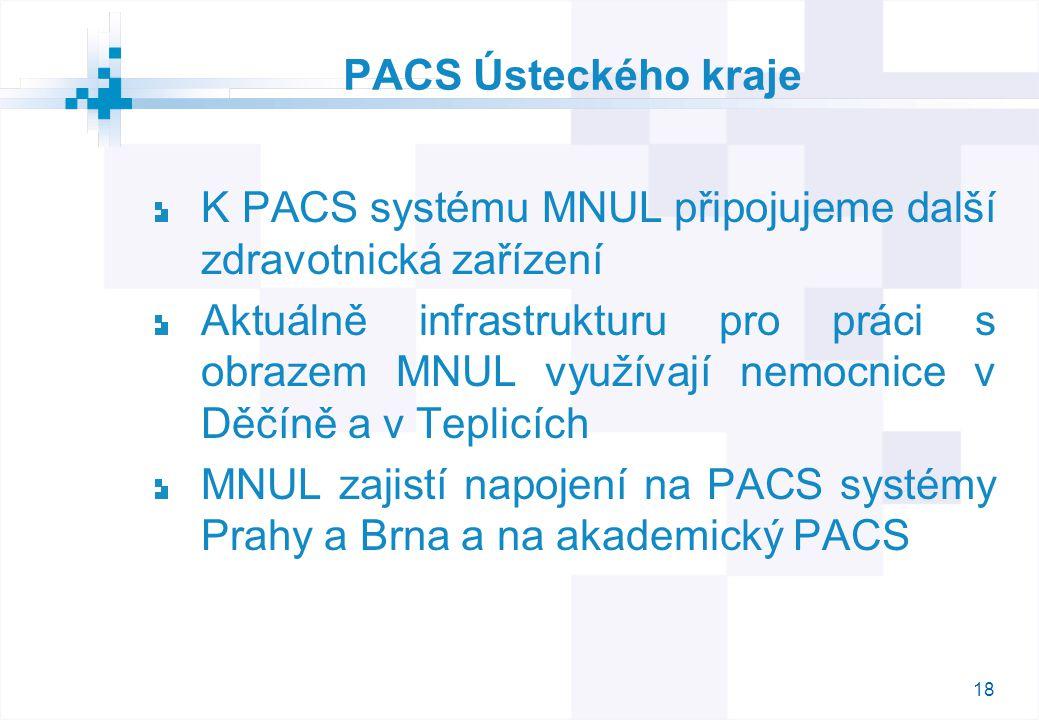 18 PACS Ústeckého kraje K PACS systému MNUL připojujeme další zdravotnická zařízení Aktuálně infrastrukturu pro práci s obrazem MNUL využívají nemocnice v Děčíně a v Teplicích MNUL zajistí napojení na PACS systémy Prahy a Brna a na akademický PACS