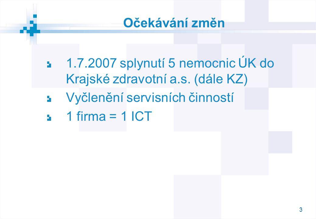 3 Očekávání změn 1.7.2007 splynutí 5 nemocnic ÚK do Krajské zdravotní a.s.