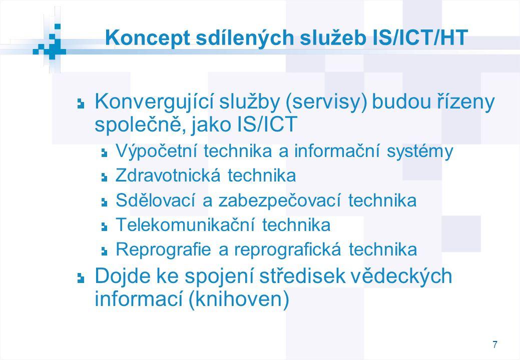 7 Koncept sdílených služeb IS/ICT/HT Konvergující služby (servisy) budou řízeny společně, jako IS/ICT Výpočetní technika a informační systémy Zdravotnická technika Sdělovací a zabezpečovací technika Telekomunikační technika Reprografie a reprografická technika Dojde ke spojení středisek vědeckých informací (knihoven)