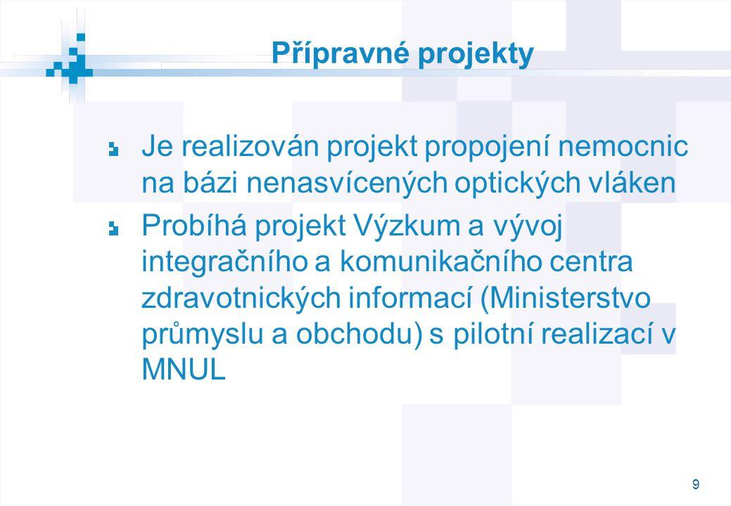9 Přípravné projekty Je realizován projekt propojení nemocnic na bázi nenasvícených optických vláken Probíhá projekt Výzkum a vývoj integračního a komunikačního centra zdravotnických informací (Ministerstvo průmyslu a obchodu) s pilotní realizací v MNUL