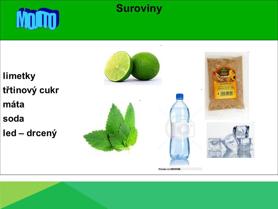 Suroviny limetky třtinový cukr máta soda led – drcený