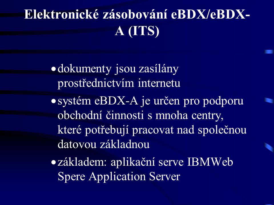 Elektronické zásobování eBDX/eBDX- A (ITS)  dokumenty jsou zasílány prostřednictvím internetu  systém eBDX-A je určen pro podporu obchodní činnosti s mnoha centry, které potřebují pracovat nad společnou datovou základnou  základem: aplikační serve IBMWeb Spere Application Server
