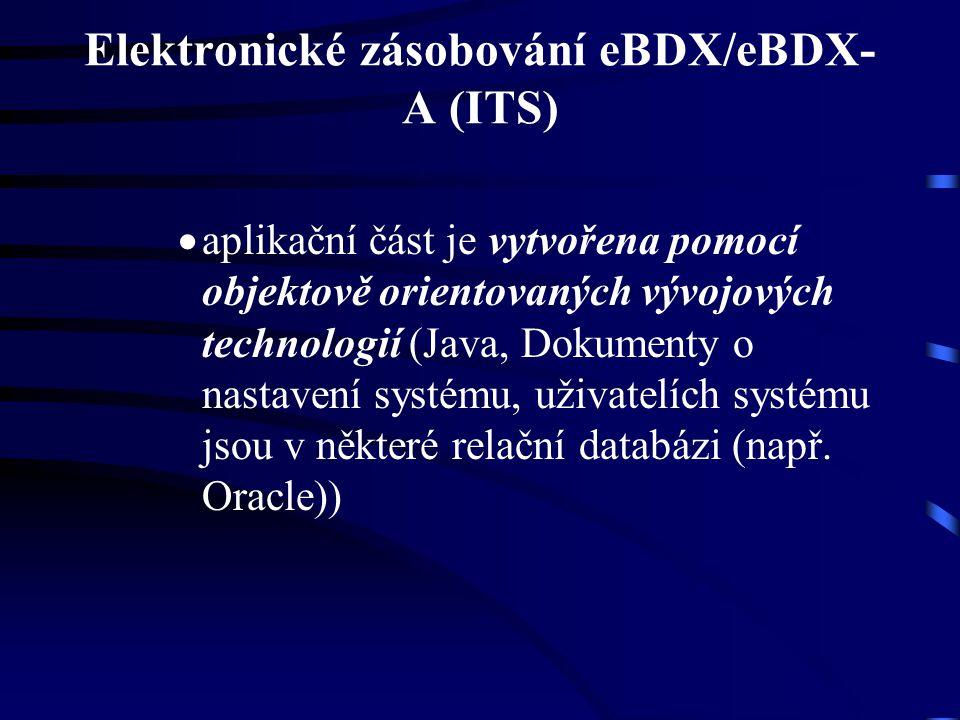 Elektronické zásobování eBDX/eBDX- A (ITS)  aplikační část je vytvořena pomocí objektově orientovaných vývojových technologií (Java, Dokumenty o nast