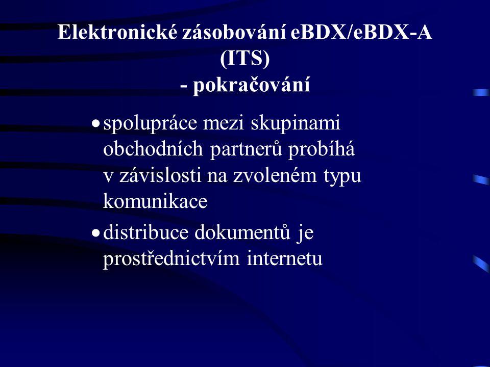 Elektronické zásobování eBDX/eBDX-A (ITS) - pokračování  spolupráce mezi skupinami obchodních partnerů probíhá v závislosti na zvoleném typu komunikace  distribuce dokumentů je prostřednictvím internetu