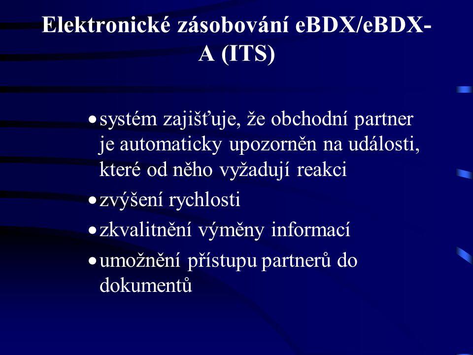 Elektronické zásobování eBDX/eBDX- A (ITS)  systém zajišťuje, že obchodní partner je automaticky upozorněn na události, které od něho vyžadují reakci  zvýšení rychlosti  zkvalitnění výměny informací  umožnění přístupu partnerů do dokumentů