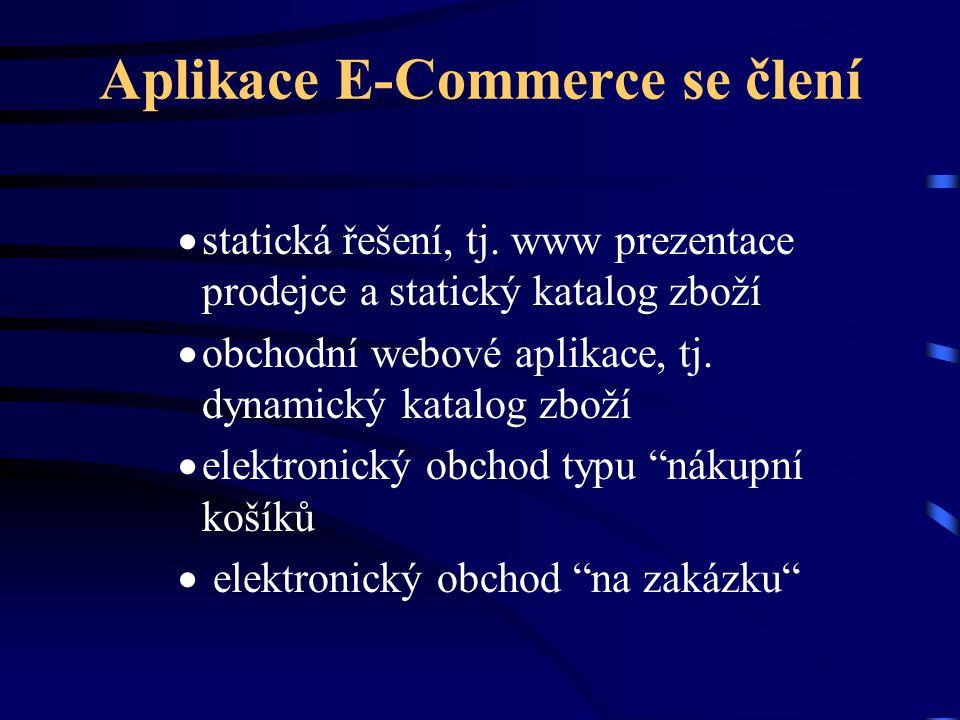 Aplikace E-Commerce se člení  statická řešení, tj. www prezentace prodejce a statický katalog zboží  obchodní webové aplikace, tj. dynamický katalog
