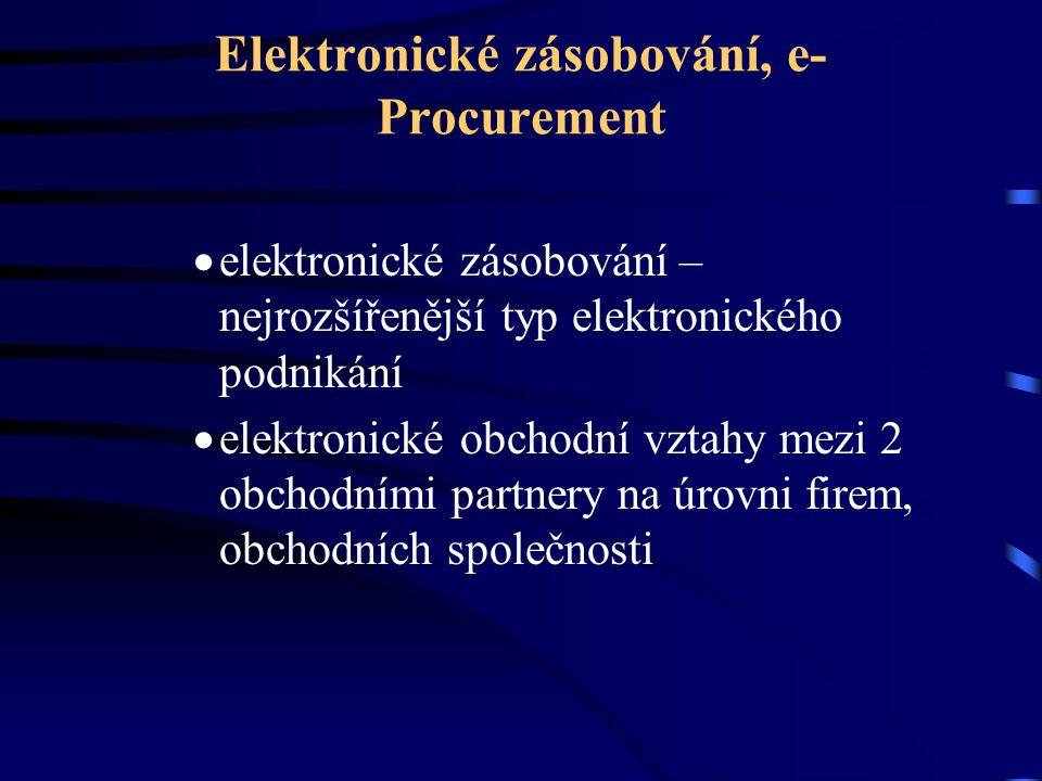 Elektronické zásobování, e- Procurement  elektronické zásobování – nejrozšířenější typ elektronického podnikání  elektronické obchodní vztahy mezi 2 obchodními partnery na úrovni firem, obchodních společnosti