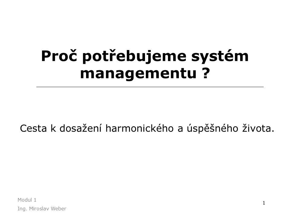 1 Proč potřebujeme systém managementu . Cesta k dosažení harmonického a úspěšného života.