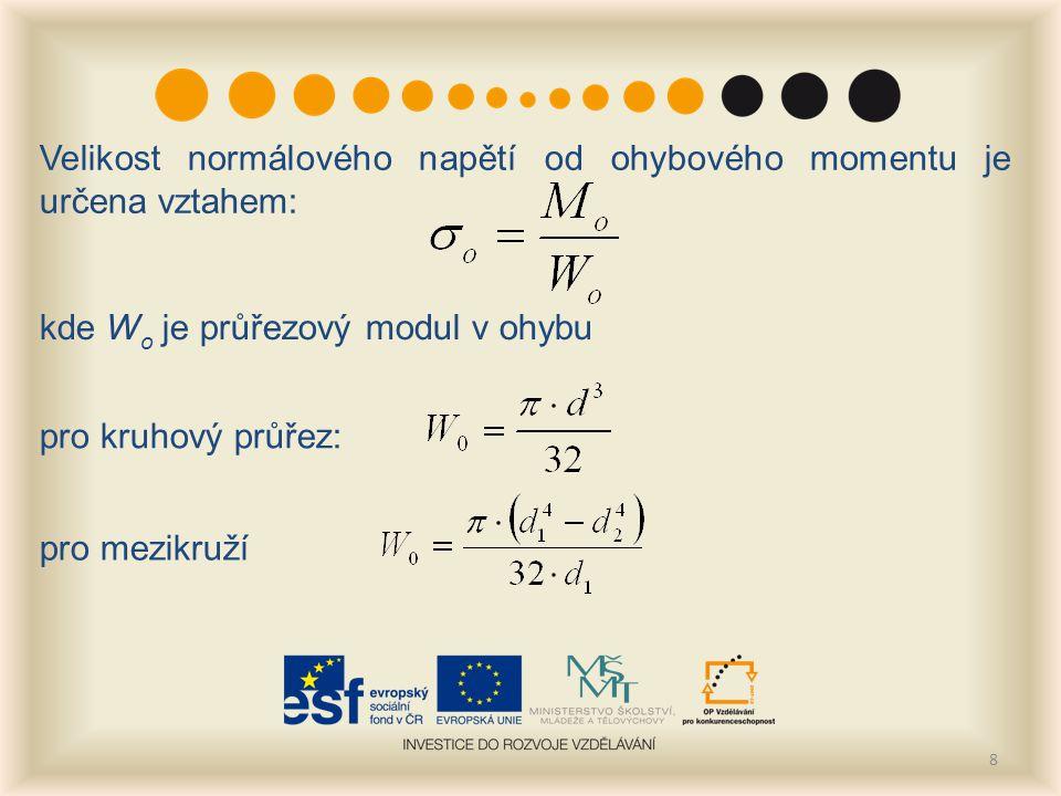 8 Velikost normálového napětí od ohybového momentu je určena vztahem: kde W o je průřezový modul v ohybu pro kruhový průřez: pro mezikruží