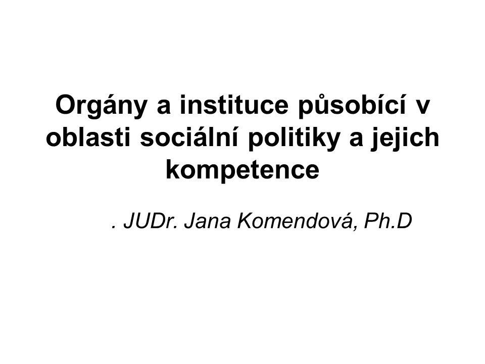 Orgány a instituce působící v oblasti sociální politiky a jejich kompetence.