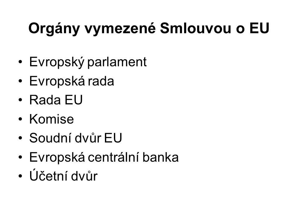Orgány vymezené Smlouvou o EU Evropský parlament Evropská rada Rada EU Komise Soudní dvůr EU Evropská centrální banka Účetní dvůr