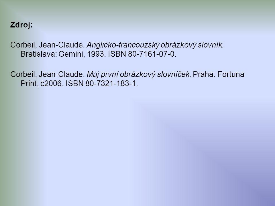 Zdroj: Corbeil, Jean-Claude. Anglicko-francouzský obrázkový slovník.
