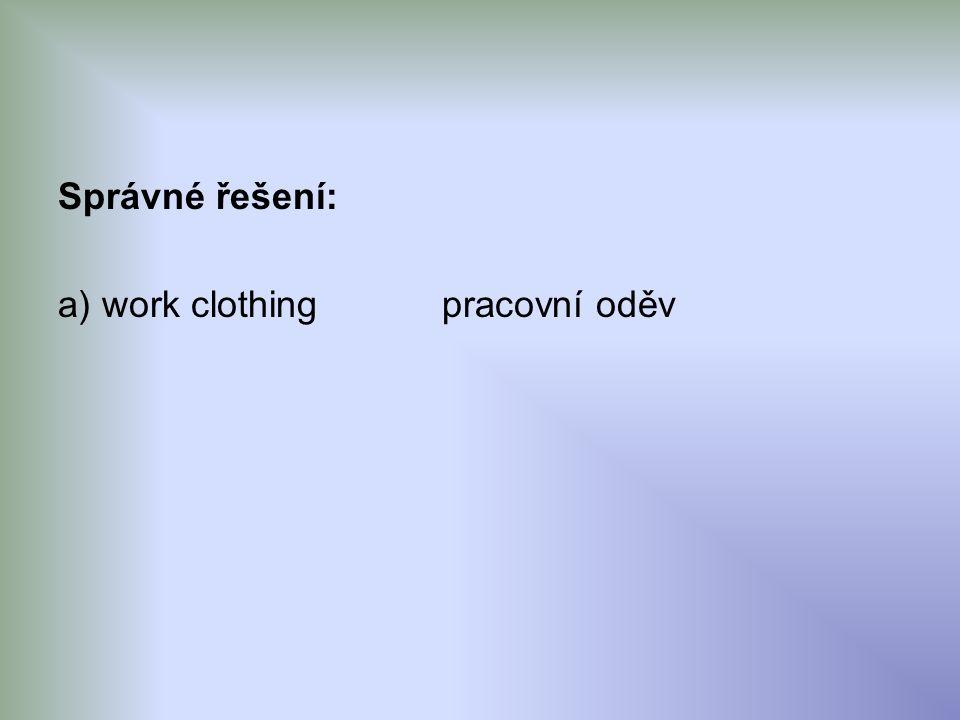 Správné řešení: a) work clothingpracovní oděv
