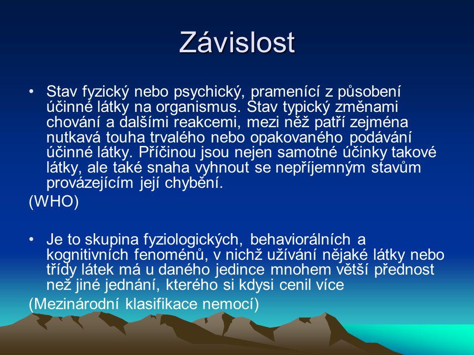 Závislost Stav fyzický nebo psychický, pramenící z působení účinné látky na organismus. Stav typický změnami chování a dalšími reakcemi, mezi něž patř