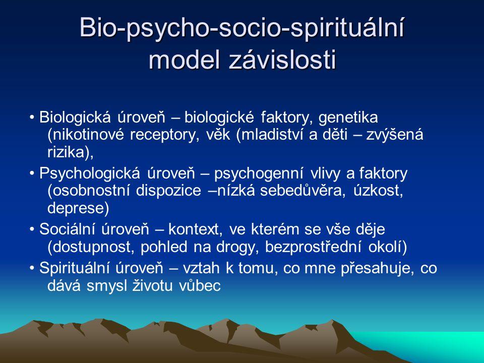 Bio-psycho-socio-spirituální model závislosti Biologická úroveň – biologické faktory, genetika (nikotinové receptory, věk (mladiství a děti – zvýšená