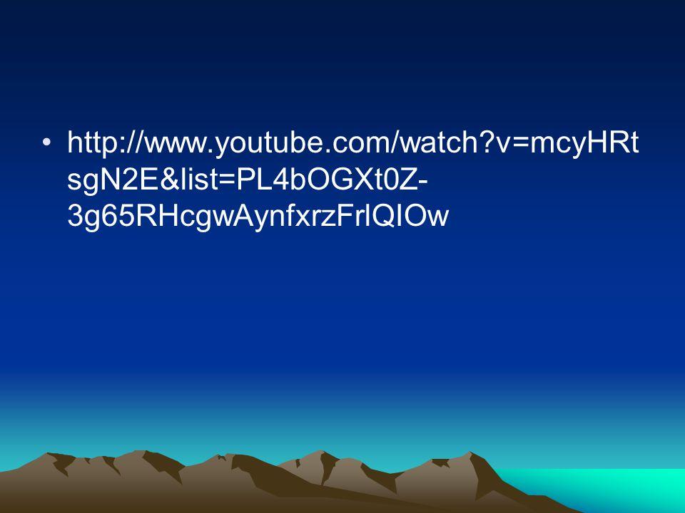 http://www.youtube.com/watch?v=mcyHRt sgN2E&list=PL4bOGXt0Z- 3g65RHcgwAynfxrzFrlQIOw