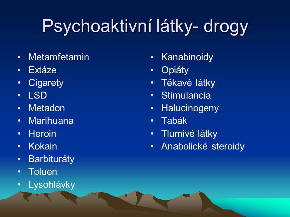 Psychoaktivní látky- drogy Metamfetamin Extáze Cigarety LSD Metadon Marihuana Heroin Kokain Barbituráty Toluen Lysohlávky Kanabinoidy Opiáty Těkavé lá