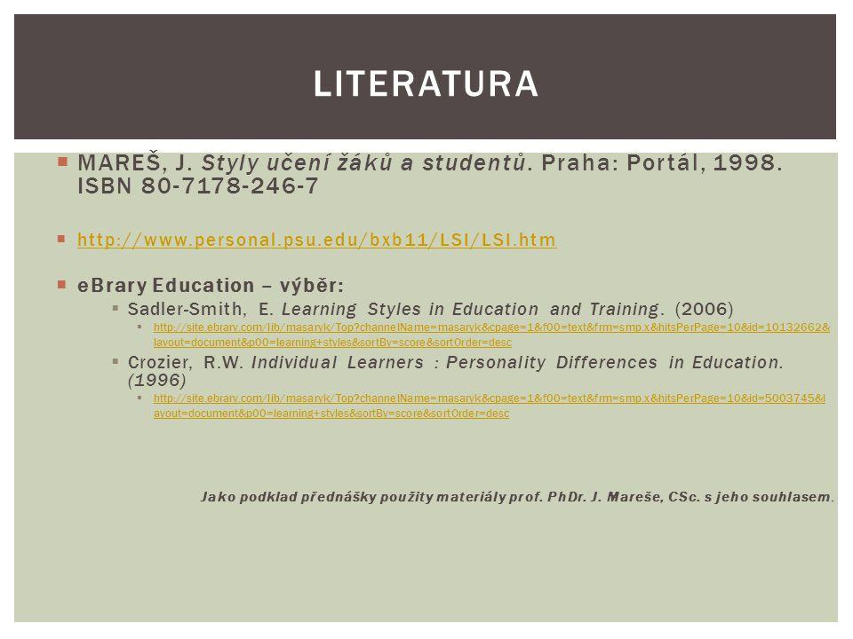  MAREŠ, J. Styly učení žáků a studentů. Praha: Portál, 1998. ISBN 80-7178-246-7  http://www.personal.psu.edu/bxb11/LSI/LSI.htm http://www.personal.p