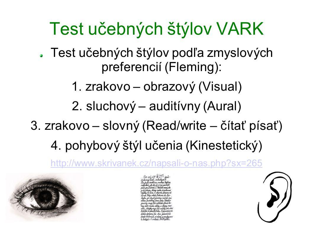 Test učebných štýlov VARK Test učebných štýlov podľa zmyslových preferencií (Fleming): 1. zrakovo – obrazový (Visual) 2. sluchový – auditívny (Aural)