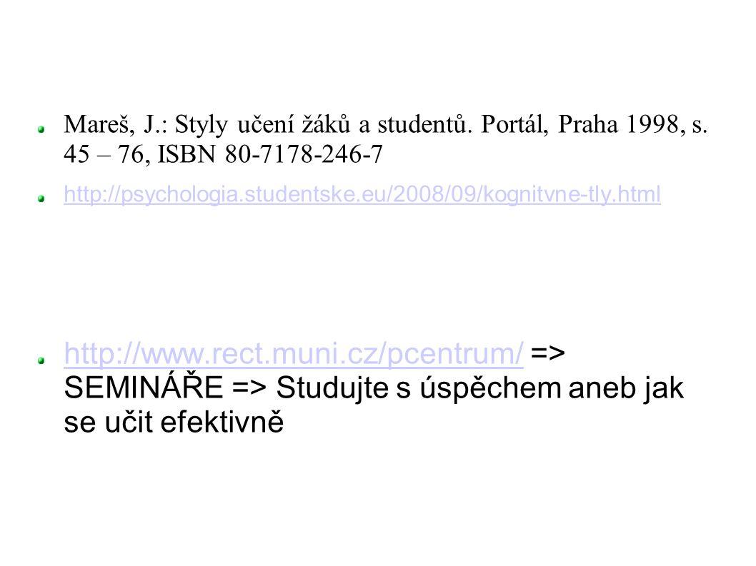Mareš, J.: Styly učení žáků a studentů. Portál, Praha 1998, s. 45 – 76, ISBN 80-7178-246-7 http://psychologia.studentske.eu/2008/09/kognitvne-tly.html