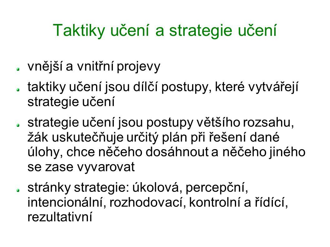 Taktiky učení a strategie učení vnější a vnitřní projevy taktiky učení jsou dílčí postupy, které vytvářejí strategie učení strategie učení jsou postup