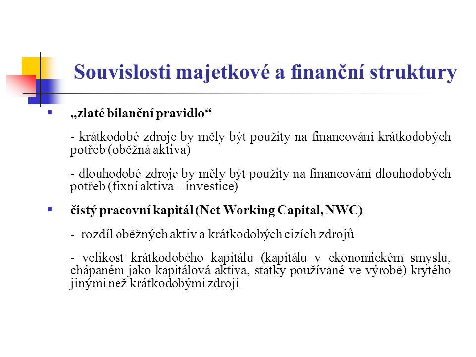 """Souvislosti majetkové a finanční struktury  """"zlaté bilanční pravidlo"""" - krátkodobé zdroje by měly být použity na financování krátkodobých potřeb (obě"""
