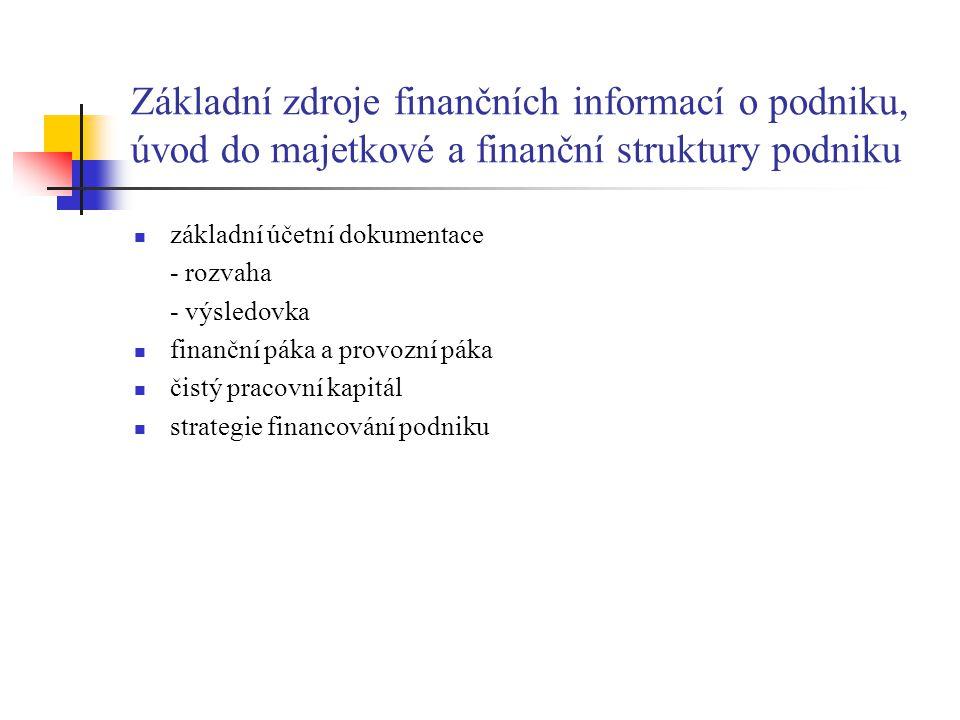 Základní zdroje finančních informací o podniku, úvod do majetkové a finanční struktury podniku základní účetní dokumentace - rozvaha - výsledovka fina