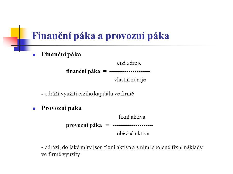 Finanční páka a provozní páka Finanční páka cizí zdroje finanční páka = --------------------- vlastní zdroje - odráží využití cizího kapitálu ve firmě