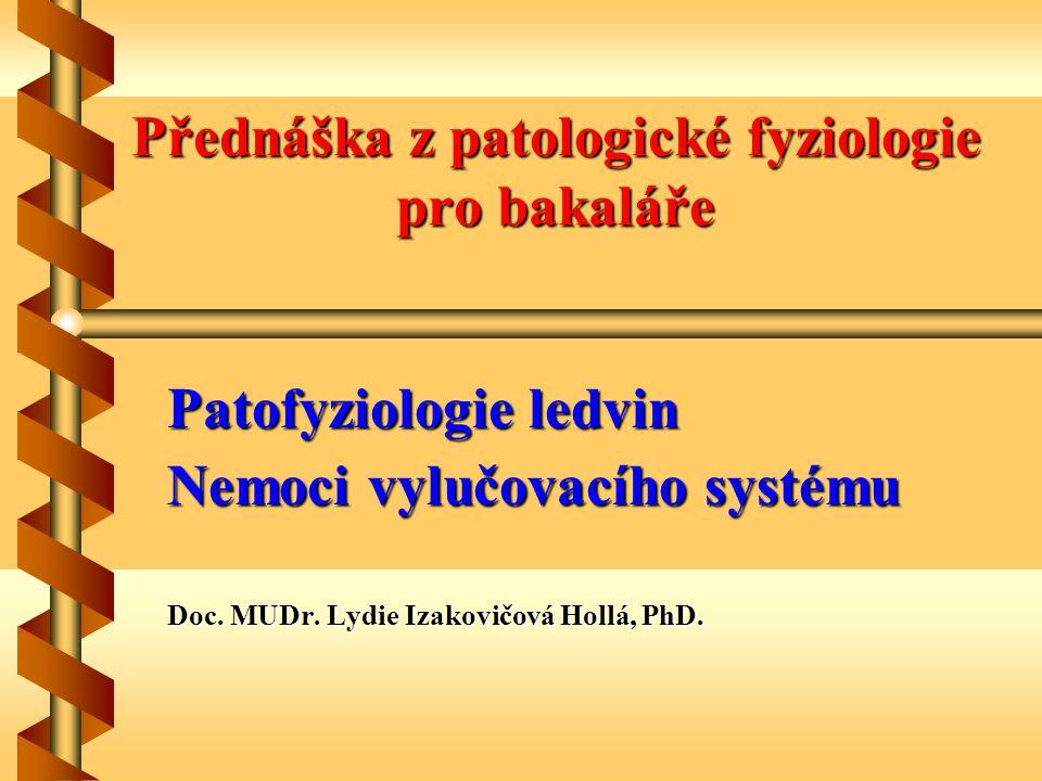 Přednáška z patologické fyziologie pro bakaláře Patofyziologie ledvin Nemoci vylučovacího systému Doc. MUDr. Lydie Izakovičová Hollá, PhD.