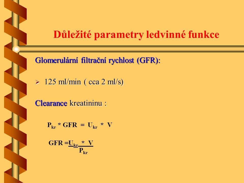 Důležité parametry ledvinné funkce Glomerulární filtrační rychlost (GFR):  125 ml/min ( cca 2 ml/s) Clearance kreatininu : P kr * GFR = U kr * V GFR =U kr * V P kr