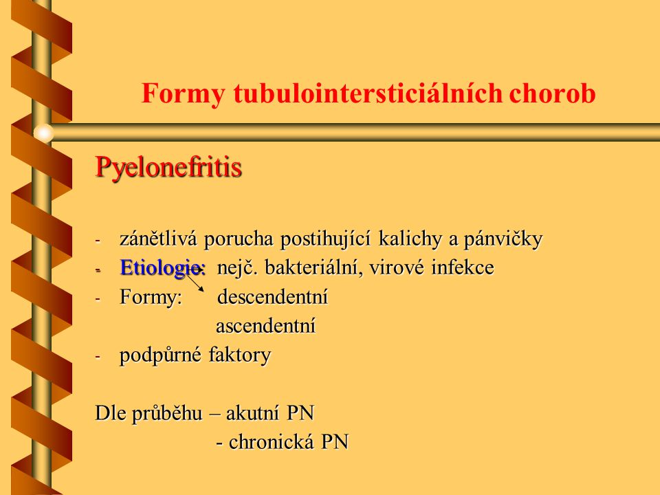 Formy tubulointersticiálních chorob Pyelonefritis - zánětlivá porucha postihující kalichy a pánvičky - Etiologie: nejč. bakteriální, virové infekce -