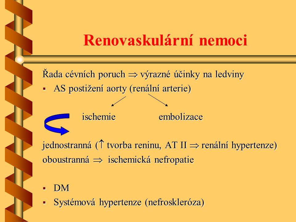 Renovaskulární nemoci Řada cévních poruch  výrazné účinky na ledviny  AS postižení aorty (renální arterie) ischemie embolizace ischemie embolizace jednostranná (  tvorba reninu, AT II  renální hypertenze) oboustranná  ischemická nefropatie  DM  Systémová hypertenze (nefroskleróza)