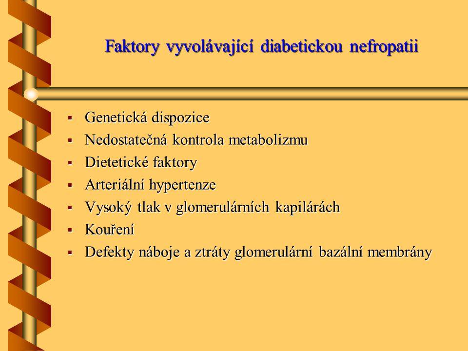 Faktory vyvolávající diabetickou nefropatii  Genetická dispozice  Nedostatečná kontrola metabolizmu  Dietetické faktory  Arteriální hypertenze  Vysoký tlak v glomerulárních kapilárách  Kouření  Defekty náboje a ztráty glomerulární bazální membrány
