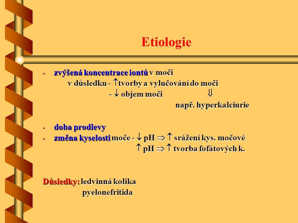 Etiologie - zvýšená koncentrace iontů v moči v důsledku -  tvorby a vylučování do moči v důsledku -  tvorby a vylučování do moči -  objem moči  -