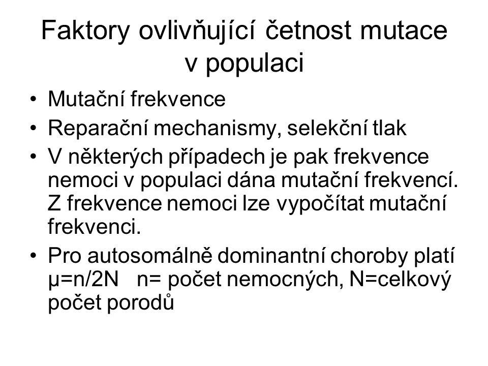 Faktory ovlivňující četnost mutace v populaci Mutační frekvence Reparační mechanismy, selekční tlak V některých případech je pak frekvence nemoci v populaci dána mutační frekvencí.