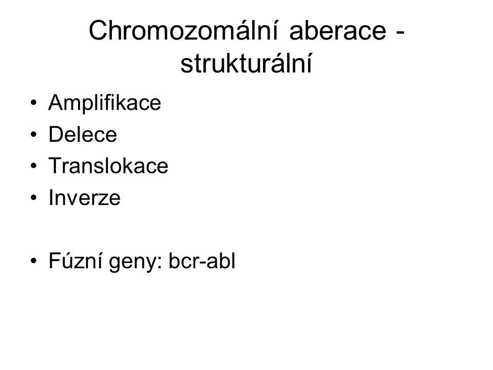 Chromozomální aberace - strukturální Amplifikace Delece Translokace Inverze Fúzní geny: bcr-abl