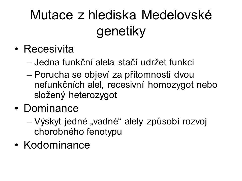 Mutace z hlediska Medelovské genetiky Recesivita –Jedna funkční alela stačí udržet funkci –Porucha se objeví za přítomnosti dvou nefunkčních alel, rec