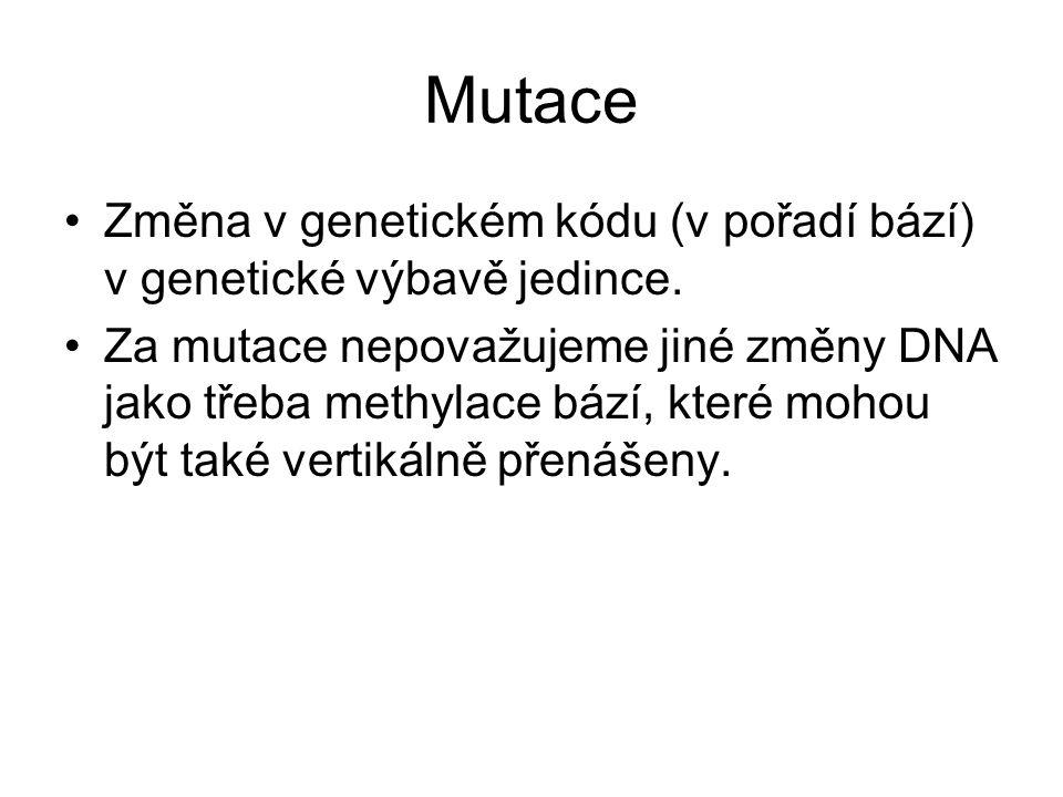 Mutace Změna v genetickém kódu (v pořadí bází) v genetické výbavě jedince. Za mutace nepovažujeme jiné změny DNA jako třeba methylace bází, které moho