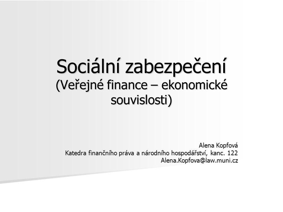 Sociální zabezpečení (Veřejné finance – ekonomické souvislosti) Alena Kopfová Katedra finančního práva a národního hospodářství, kanc. 122 Alena.Kopfo