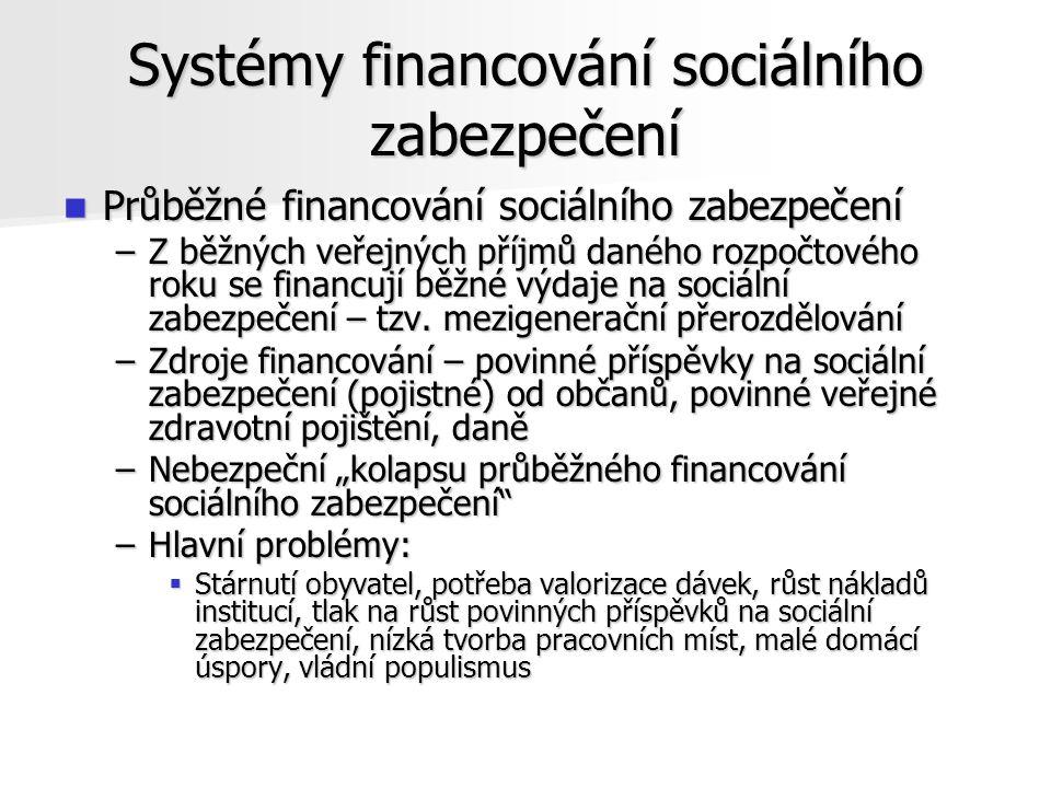Systémy financování sociálního zabezpečení Průběžné financování sociálního zabezpečení Průběžné financování sociálního zabezpečení –Z běžných veřejných příjmů daného rozpočtového roku se financují běžné výdaje na sociální zabezpečení – tzv.