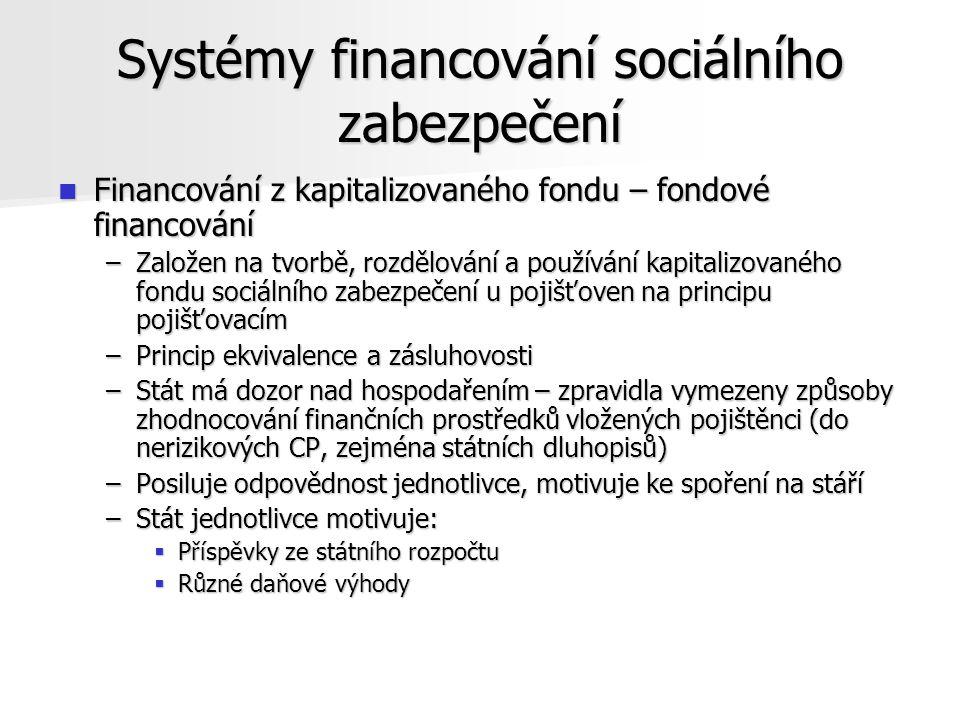 Systémy financování sociálního zabezpečení Financování z kapitalizovaného fondu – fondové financování Financování z kapitalizovaného fondu – fondové financování –Založen na tvorbě, rozdělování a používání kapitalizovaného fondu sociálního zabezpečení u pojišťoven na principu pojišťovacím –Princip ekvivalence a zásluhovosti –Stát má dozor nad hospodařením – zpravidla vymezeny způsoby zhodnocování finančních prostředků vložených pojištěnci (do nerizikových CP, zejména státních dluhopisů) –Posiluje odpovědnost jednotlivce, motivuje ke spoření na stáří –Stát jednotlivce motivuje:  Příspěvky ze státního rozpočtu  Různé daňové výhody