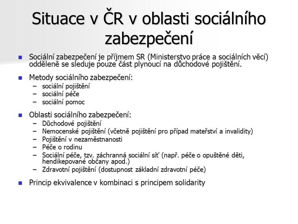 Situace v ČR v oblasti sociálního zabezpečení Sociální zabezpečení je příjmem SR (Ministerstvo práce a sociálních věcí) odděleně se sleduje pouze část plynoucí na důchodové pojištění.