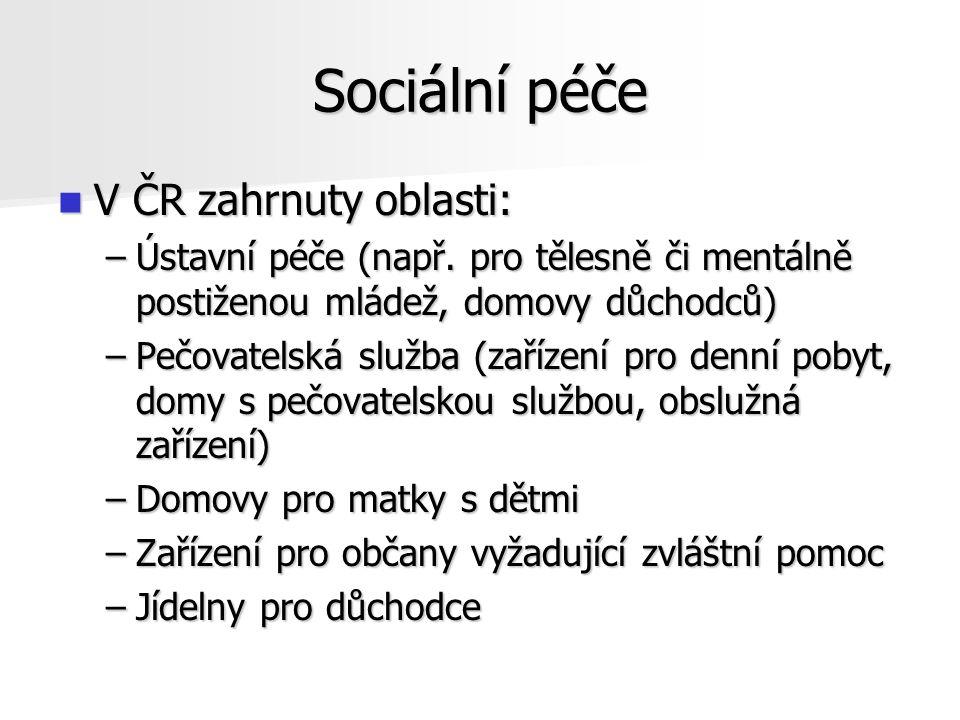 Sociální péče V ČR zahrnuty oblasti: V ČR zahrnuty oblasti: –Ústavní péče (např.