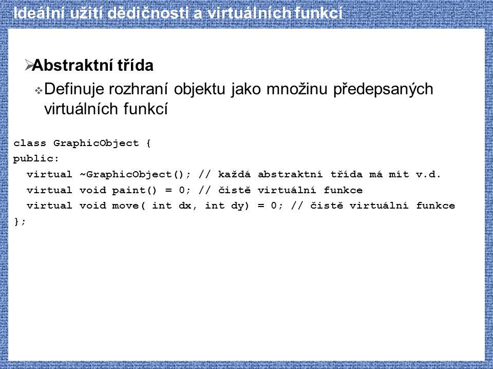 Ideální užití dědičnosti a virtuálních funkcí  Abstraktní třída  Definuje rozhraní objektu jako množinu předepsaných virtuálních funkcí class GraphicObject { public: virtual ~GraphicObject(); // každá abstraktní třída má mít v.d.