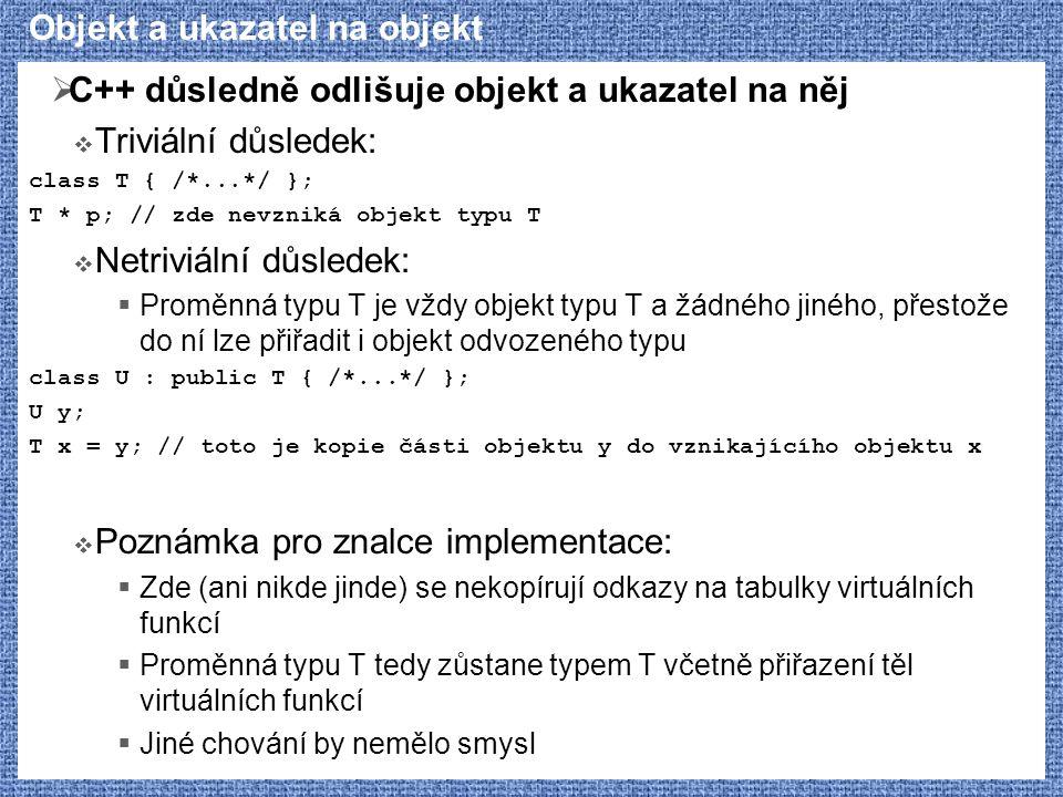 Objekt a ukazatel na objekt  C++ důsledně odlišuje objekt a ukazatel na něj  Triviální důsledek: class T { /*...*/ }; T * p; // zde nevzniká objekt typu T  Netriviální důsledek:  Proměnná typu T je vždy objekt typu T a žádného jiného, přestože do ní lze přiřadit i objekt odvozeného typu class U : public T { /*...*/ }; U y; T x = y; // toto je kopie části objektu y do vznikajícího objektu x  Poznámka pro znalce implementace:  Zde (ani nikde jinde) se nekopírují odkazy na tabulky virtuálních funkcí  Proměnná typu T tedy zůstane typem T včetně přiřazení těl virtuálních funkcí  Jiné chování by nemělo smysl