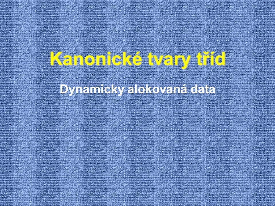 Kanonické tvary tříd Dynamicky alokovaná data